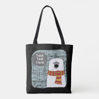 Digital drawing Polar Bear, Your Text Here design Tote Bag