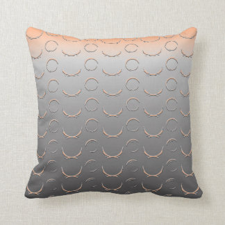 Digital Embossed Circle Art Deco Silver Peach Throw Pillow