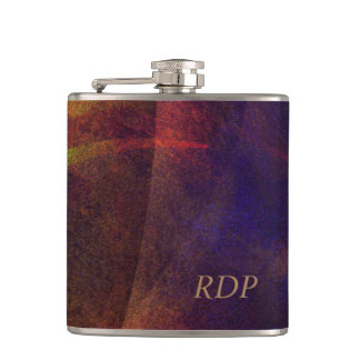 Digital Fine Art Abstract Monogrammed Hip Flask