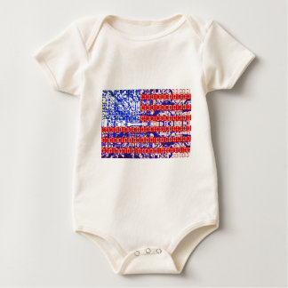 digital Flag (USA) & circuit board. Baby Bodysuit