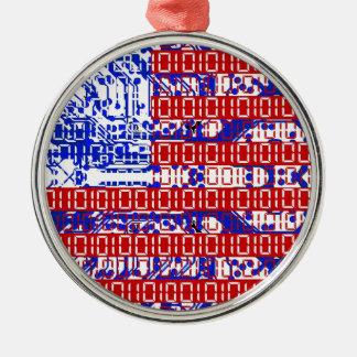 digital Flag (USA) & circuit board. Christmas Ornament