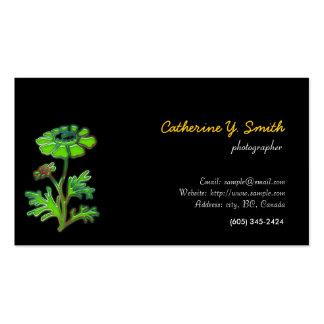 digital floral, elegant, black business cards