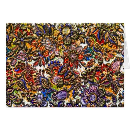 Digital Floral Pattern Art Greeting Cards
