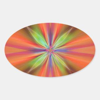 Digital Flower orange no. 2 designed by Tutti Oval Sticker