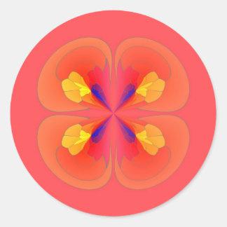 Digital flowers classic round sticker