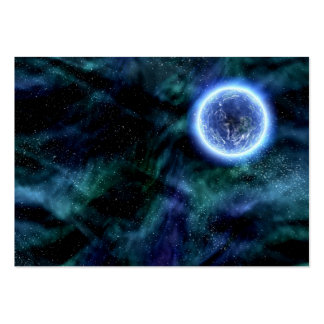 Digital Galaxy Alien Planet In Space Blue Nebula Business Card Template