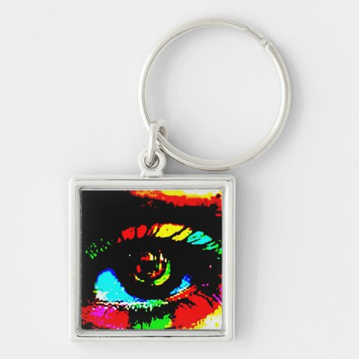 Digital Graffiti Eye Silver-Colored Square Key Ring