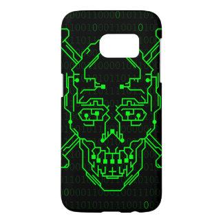 Digital Green Binary Skull S7 Case
