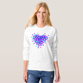 DIGITAL HEART EXPLOSION WHITE RAGLAN SWEATSHIRT