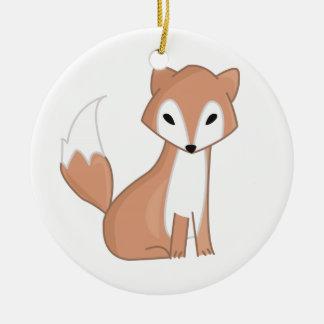Digital Illustration Of A Cute Fox Christmas Ornament