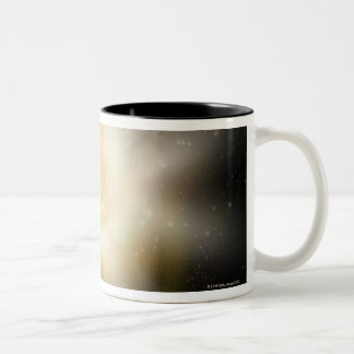 Digital Illustration of a Solar System Two-Tone Coffee Mug