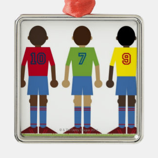 Digital illustration of five football players, christmas ornament