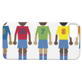 Digital illustration of five football players, iPhone 5 cover