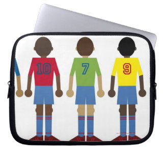 Digital illustration of five football players, laptop sleeve