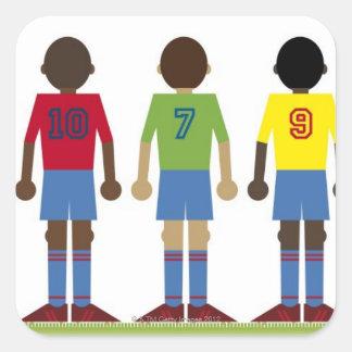 Digital illustration of five football players, square sticker