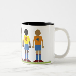 Digital illustration of five football players, Two-Tone coffee mug
