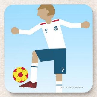 Digital illustration of football player wearing coaster
