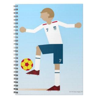 Digital illustration of football player wearing notebook