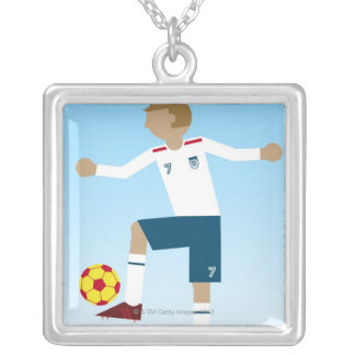 Digital illustration of football player wearing silver plated necklace