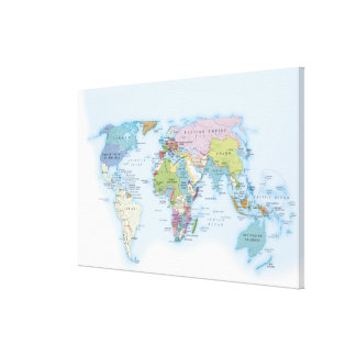 Digital illustration of the world in 1900 canvas print