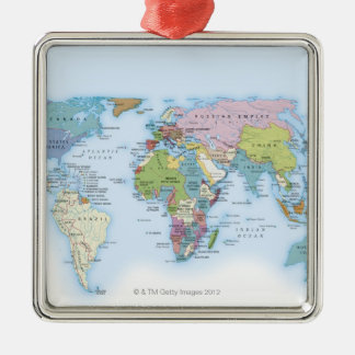 Digital illustration of the world in 1900 christmas ornament