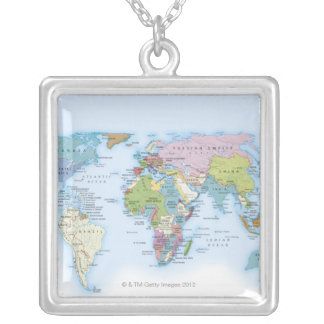 Digital illustration of the world in 1900 silver plated necklace