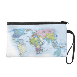 Digital illustration of the world in 1900 wristlet clutch