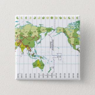 Digital illustration of world map showing time 15 cm square badge