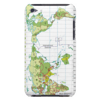 Digital illustration of world map showing time barely there iPod case