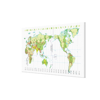 Digital illustration of world map showing time canvas print