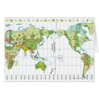 Digital illustration of world map showing time card