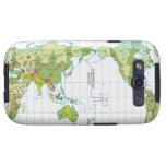 Digital illustration of world map showing time samsung galaxy s3 cover