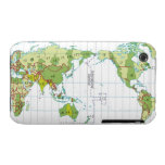 Digital illustration of world map showing time iPhone 3 covers
