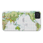 Digital illustration of world map showing time iPhone 4 Case-Mate case