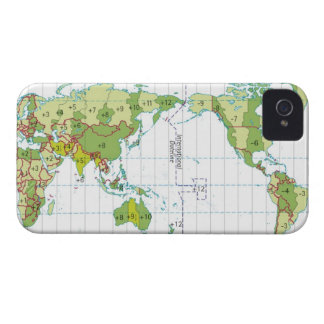 Digital illustration of world map showing time iPhone 4 Case-Mate cases