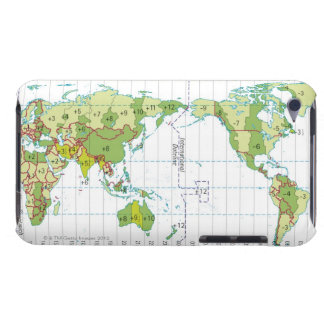Digital illustration of world map showing time iPod touch cover