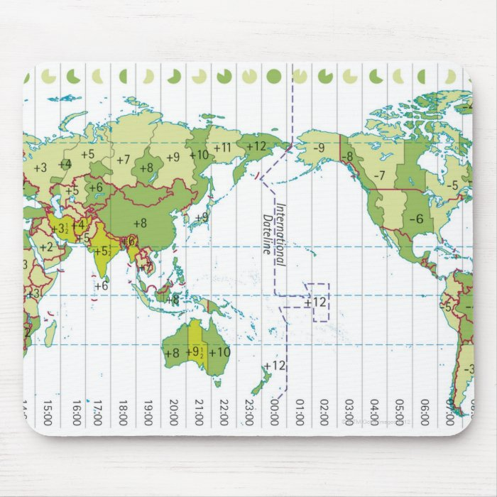 Digital illustration of world map showing time mouse pad