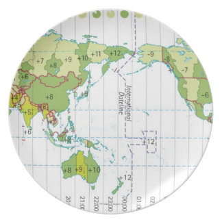 Digital illustration of world map showing time plate