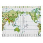 Digital illustration of world map showing time poster
