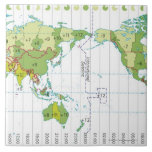 Digital illustration of world map showing time large square tile