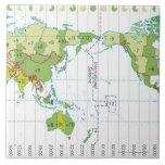 Digital illustration of world map showing time large square tile