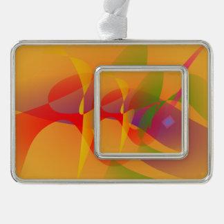 Digital Kandinsky Emulation Silver Plated Framed Ornament