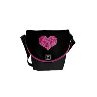 Digital Love (Circuit Board Heart) Messenger Bags