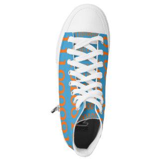 Digital Love High Top Shoes Orange Binary Printed Shoes