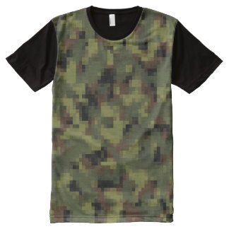 Digital Military Green Camouflage All-Over Print T-Shirt