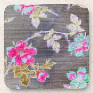 Digital Mosaic Flowers Cork Coasters