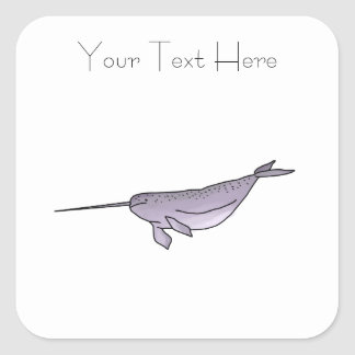 Digital Narwhal Illustration, Sea Animal Square Sticker