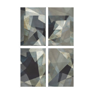Digital Overlay Neutral #1 Four Panel Abstract Canvas Print