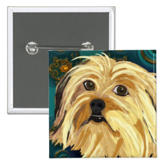 Digital Paint of a Cute Toy Dog in Golden Tones 15 Cm Square Badge