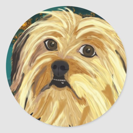 Digital Paint of a Cute Toy Dog in Golden Tones Round Sticker